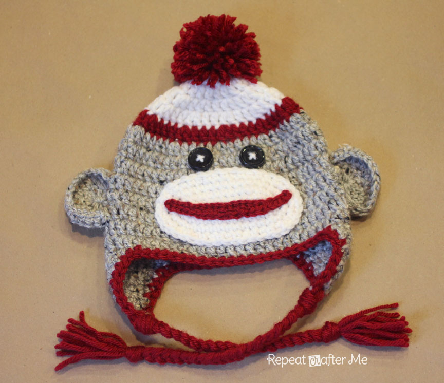 Knitting Pattern For Monkey Hat : Crochet Sock Monkey Hat Pattern - Repeat Crafter Me
