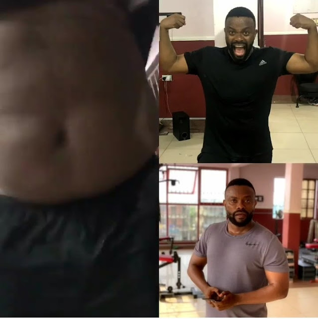'My Weight Loss Is Not Audio' - Nollywood Actor, Okon Lagos Shows His 6 Packs