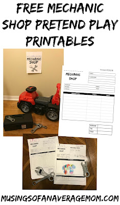 Mechanic shop pretend play printables