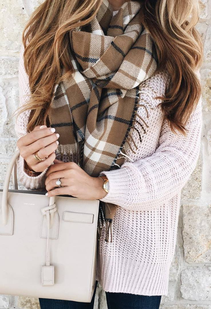 cute ootd_knit sweater + bag + plaid scarf + skinnies