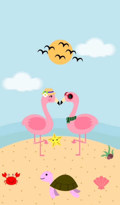 Pink Flamingo on the Beach Theme v.2