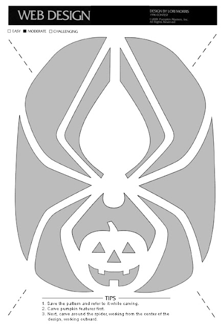 Free printable Spider halloween pumpkin carving pattern designs stencils