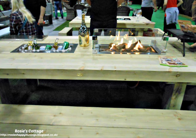 Dual purpose garden table with built in chiller & gas fire/BBQ