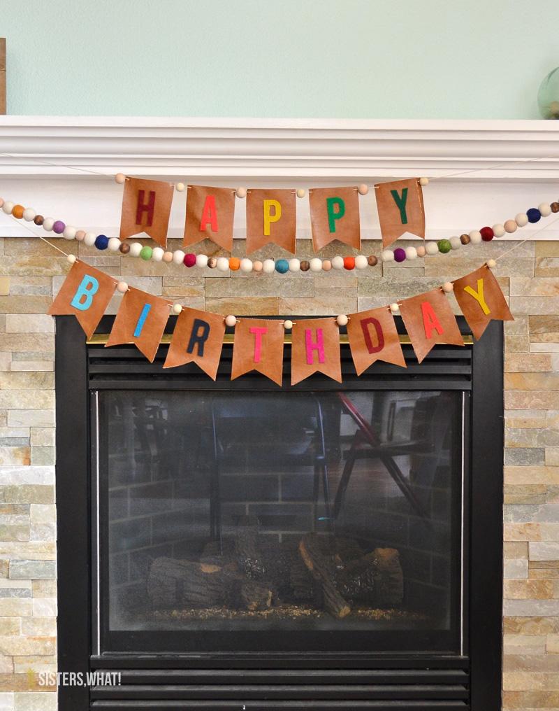 DIY birthday banner felt leather