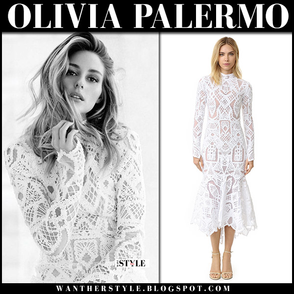 Olivia Palermo in white lace crochet sheer long sleeve dress jonathan simkhai august 13