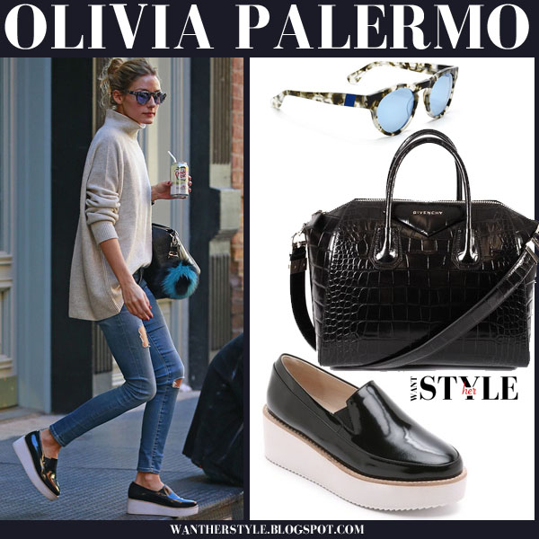 45fe238fb9a Olivia Palermo in black patent platform sol sana tabbie loafers and beige  turtleneck sweater what she