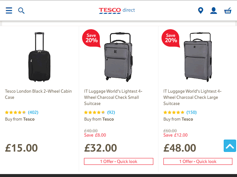 Tesco luggage and travel bags