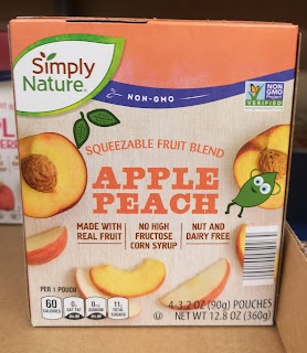 Box packaging for Simply Nature Apple Peach Squeezable Fruit Blend Pouch, from Aldi