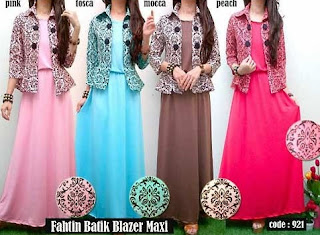 Model Long Dress Batik Kombinasi Blazer remaja