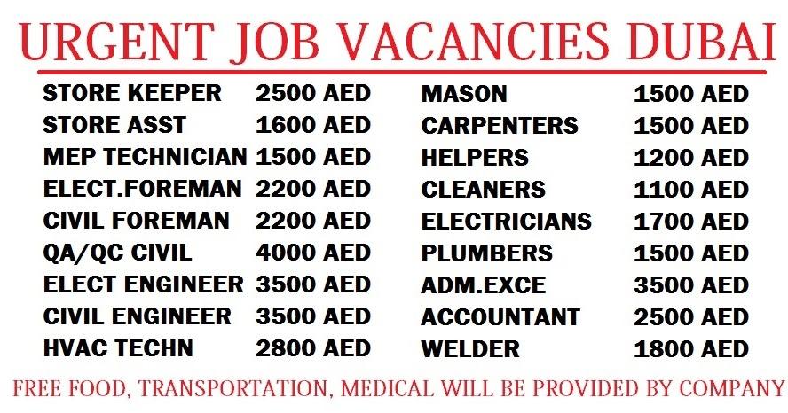 Urgent Job Vacancies Dubai Dubai Job Walkins