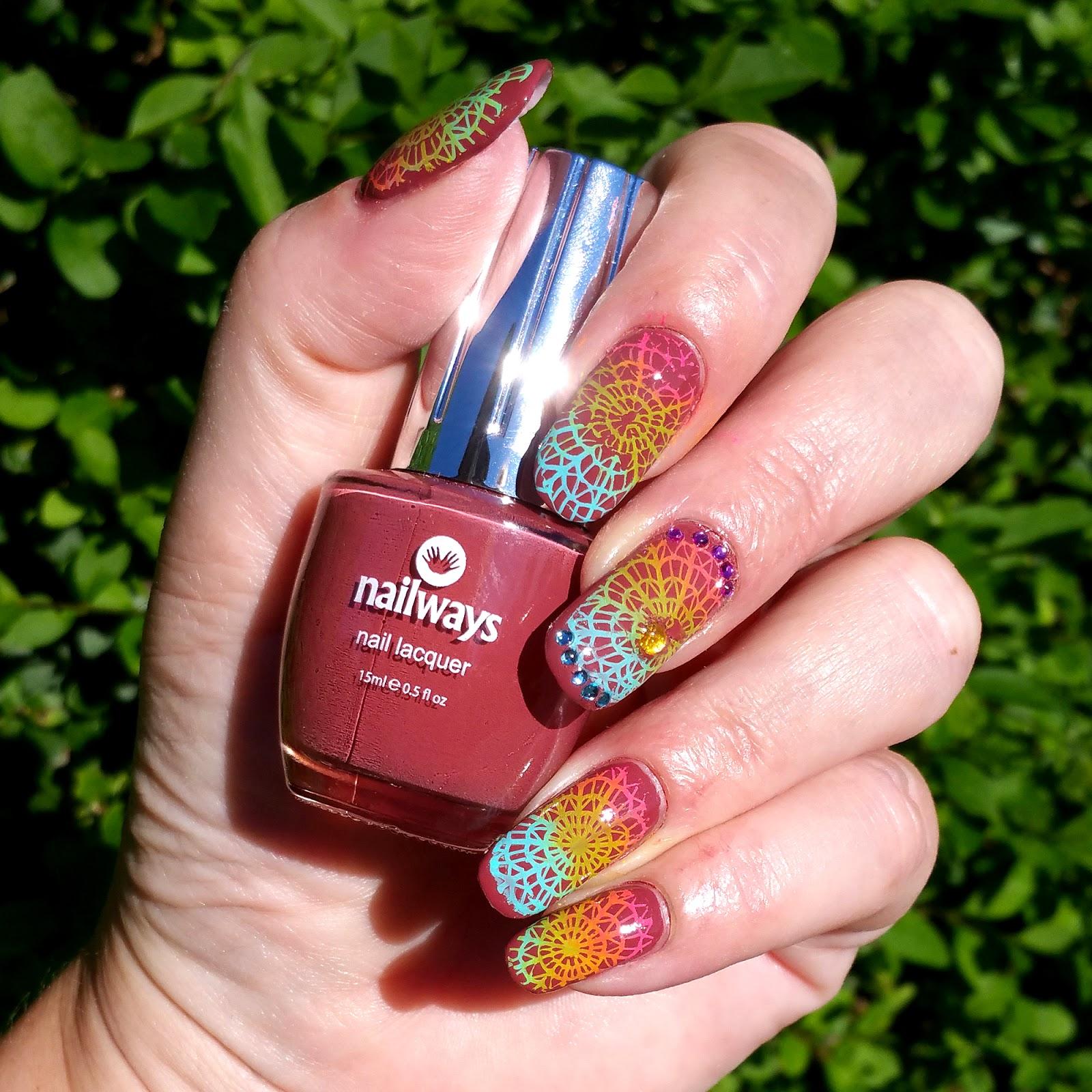 Nailways Ibiza Chic En Marsala Stempel Nagel Nail Art