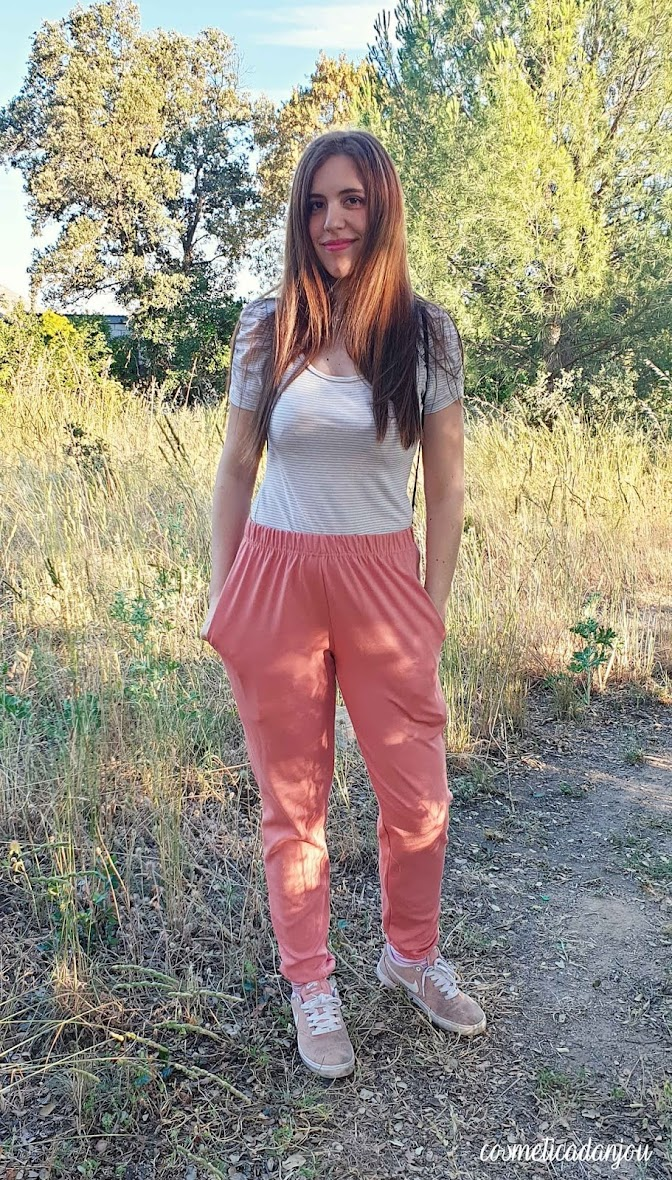 Peach Elasticated Cuffed Hem Basic Joggers - Myah