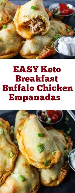 EASY Keto Breakfast Buffalo Chicken Empanadas Recipe #ketobreakfast #easybreakfast #buffalo #chicken #breakfast #whole30 #empanadas #healthybreakfast