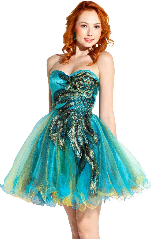 Prom dresses 2014: Cheap short peacock Corset prom dresses ...