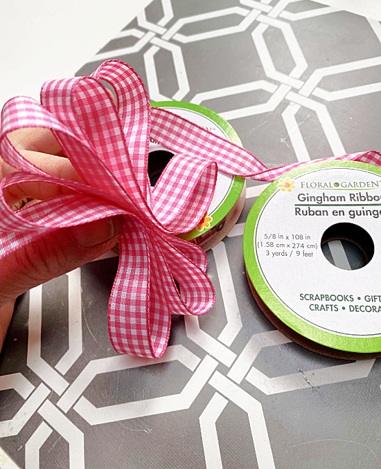 pink checked bow from dollar store ribbon
