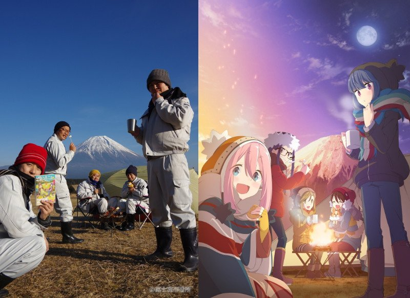 Trabalhadores recriam visual de Yuru Camp no Monte Fuji