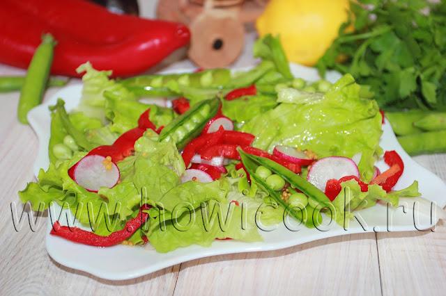 рецепт салата с редисом и стручками гороха