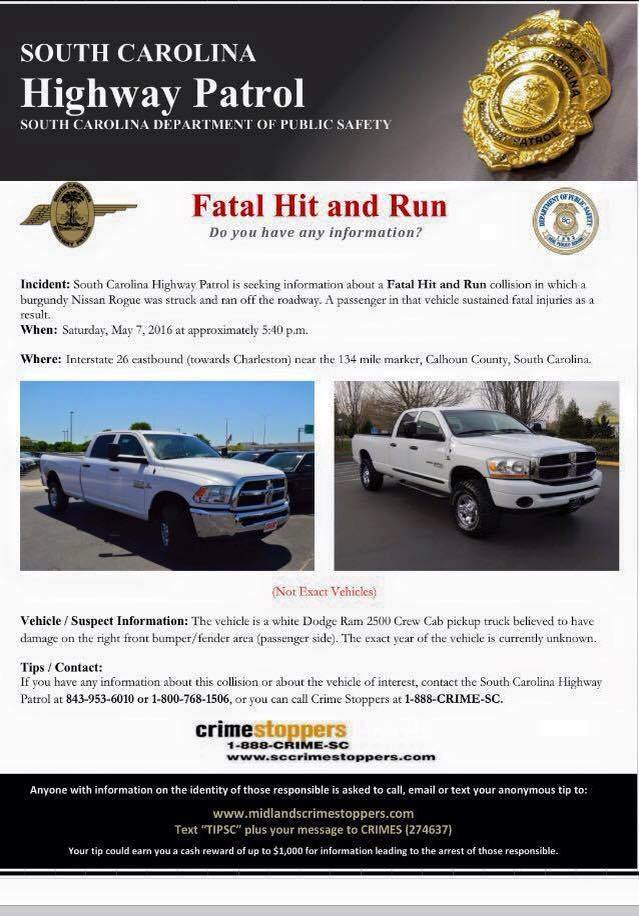 14 year old Grace Hanson Sulak killed #HitandRun May 7, 2016 Calhoun County, South Carolina.