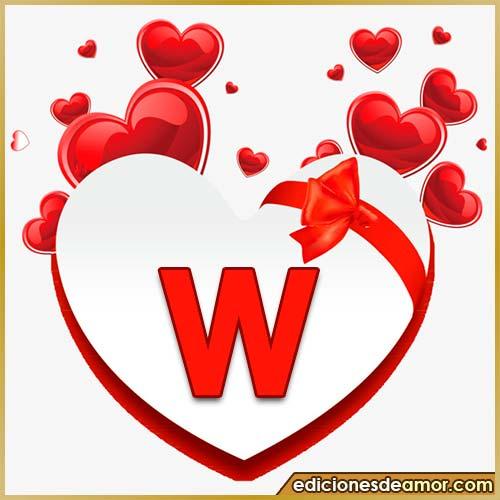 corazones volando con letra W