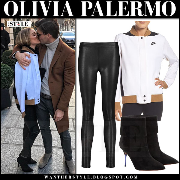 Olivia Palermo in white nike tech fleece jacket, black leather j brand edita pants and black suede ankle boots aquazzura sasha what she wore paris johannes huebl kissing