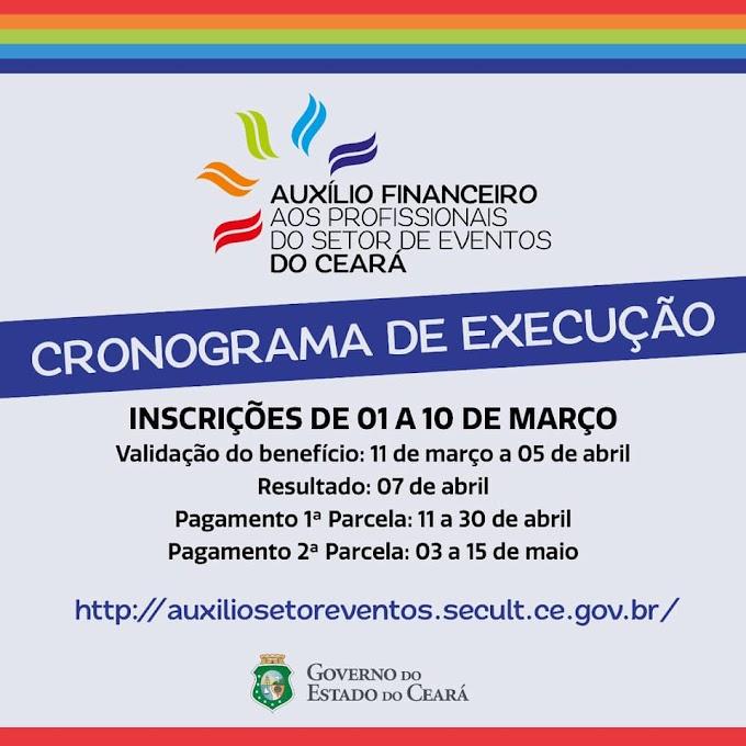 Governo do Estado abre Cadastro para solicitação de auxílio financeiro aos profissionais do Setor de Eventos do Ceará com  início no dia 1º de março