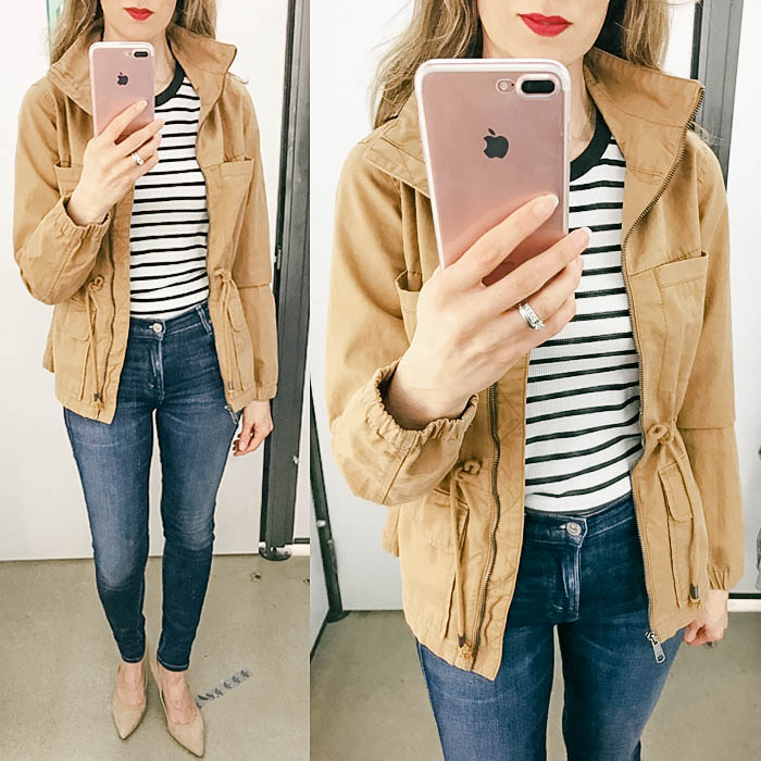 old navy try on session, field utility jacket, skinny jeans, suede pumps, striped tee