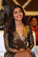 Pooja Hegde looks glamarous in deep neck sleevless short tight golden gown at Duvvada Jagannadham thank you meet function 153.JPG
