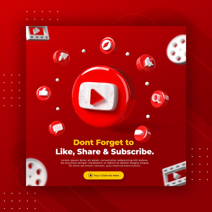 Business Page Promotion with 3D Render Youtube Logo Instagram Post Template