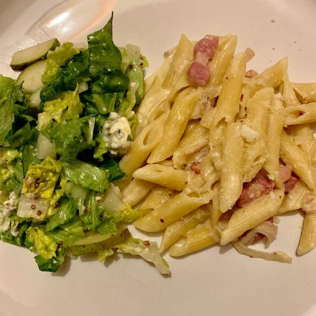 Bacon and mustard penne, with pear and blue cheese side salad