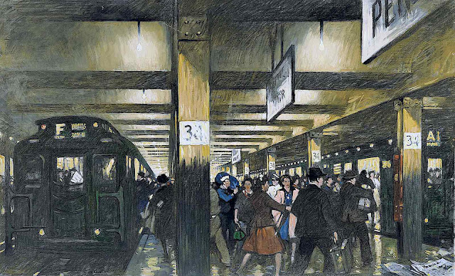 Thornton Oakley, a busy train station with passengers