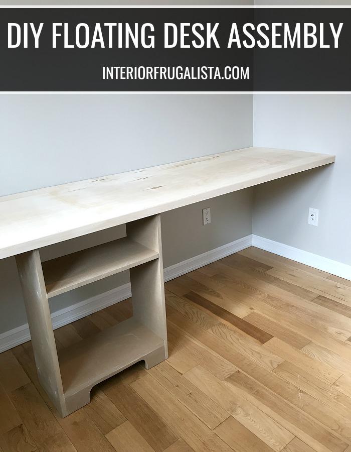 DIY Double Workspace Floating Wood Desk