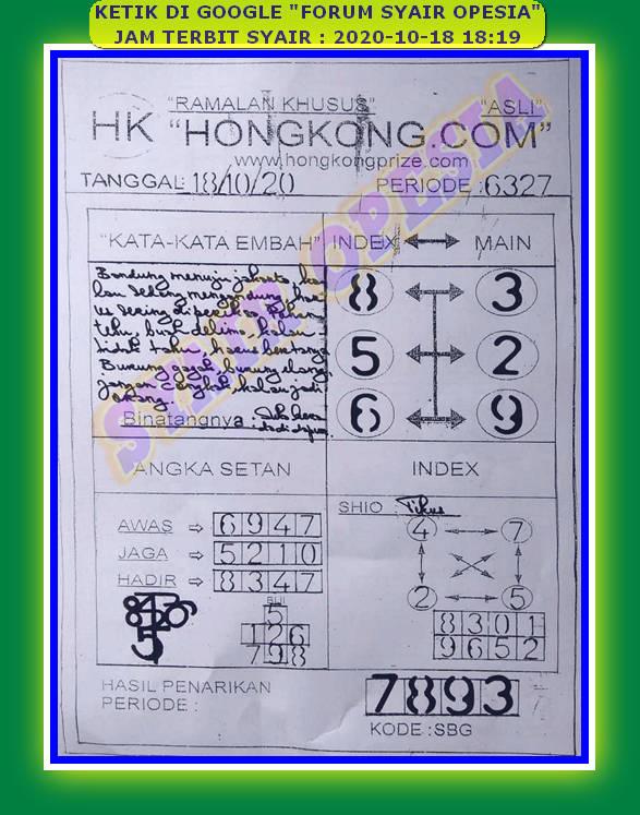 Kode syair Hongkong Minggu 18 Oktober 2020 74