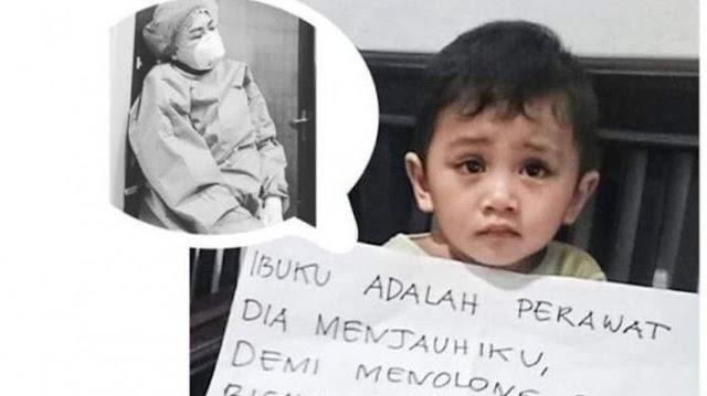 Viral Foto Anak Perawat Sedih Dijauhi Ibunya yang Rawat Pasien Corona