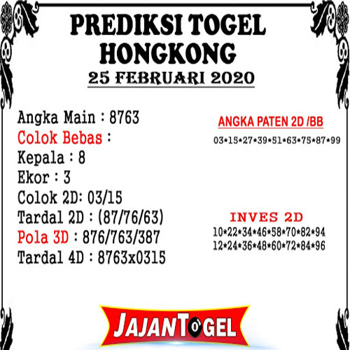 Prediksi Togel JP Hongkong 25 Februari 2020 - Prediksi Jajan Togel