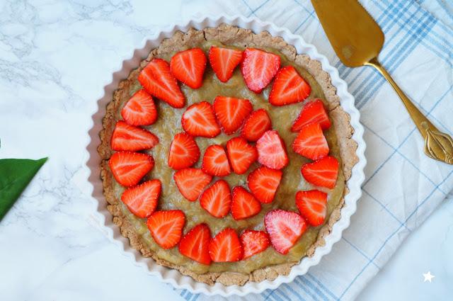 tarte rhubarbe fraise IG bas sans lactose photo culinaire