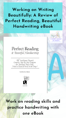 text: Working on Writing Beautifully: A Review of Perfect Reading, Beautiful Handwriting eBook; Work on reading skills and practice handwriting with one eBook; book cover of Perfect Reading