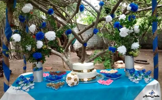 Casamento Civil - Festa no Quintal com Decoração Azul