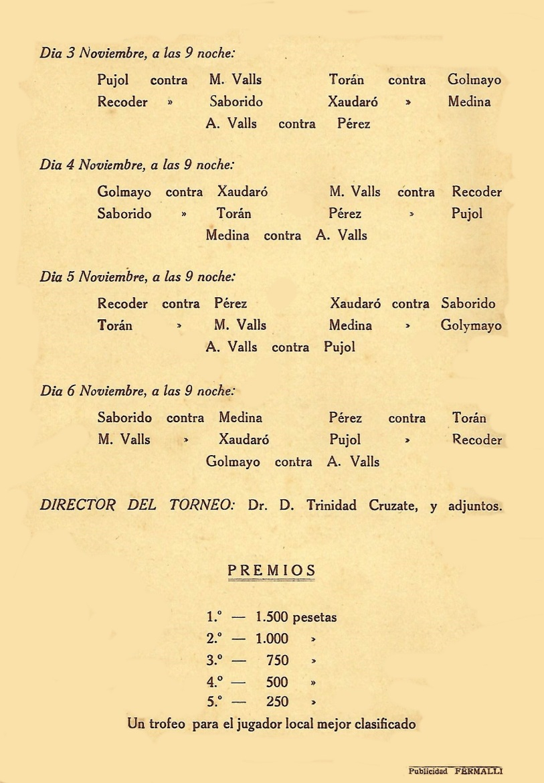 Cuarta página del díptico del I Torneo Nacional de Ajedrez de Mataró-1948