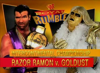 WWF / WWE Royal Rumble 1996: Goldust challenged Razor Ramon for the WWF Intercontinental Championship