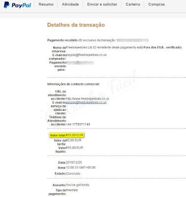 paypal freebiejeebies pagamento comprovativo dinheiro grátis prémios ofertas