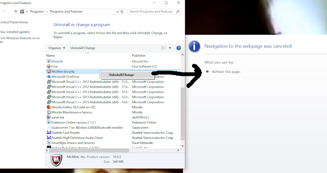 Windows 10 Dell McAfee Security bloatware uninstall navigation to the webpage was canceled