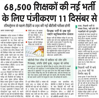 UP 68,500 Primary Teacher Vacancy 2018 Latest News