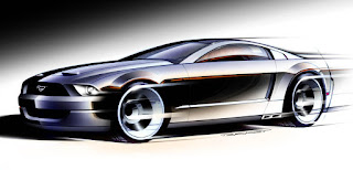 The photo you see on the Cars by Images cover is a beautiful sketch by Jon Trickey, a Ford Motor Company designer, who drew it when designing the 2005 Ford Mustang, under the supervision of Ford Concept Design chief Richard Hutting. The sketch, which did not remain so far from the real car, brought together all the characters of the 1967 Ford Mustangs and was inspired by the world of racing. The concept included, for example, a spare wheel placed behind the two front seats. For completeness of information, the original image is shown below.