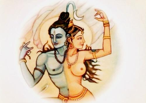 Ilustração hindu representando a união das polaridades masculina e feminina, no âmbito da magia sexual
