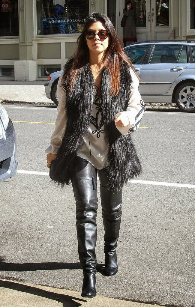 The Appreciation Of Booted News Women Blog Kourtney Kardashian Wore Thigh High Black Leather
