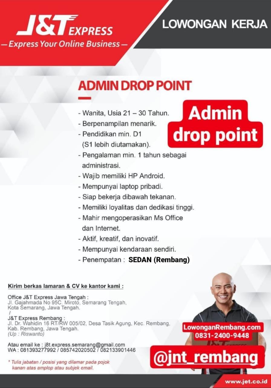 Lowongan Kerja Admin Drop Point Ekspedisi J&T Sedan Rembang