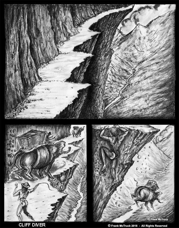 Frank McTruck ink and ink wash cartoon art 'Cliff Diver'