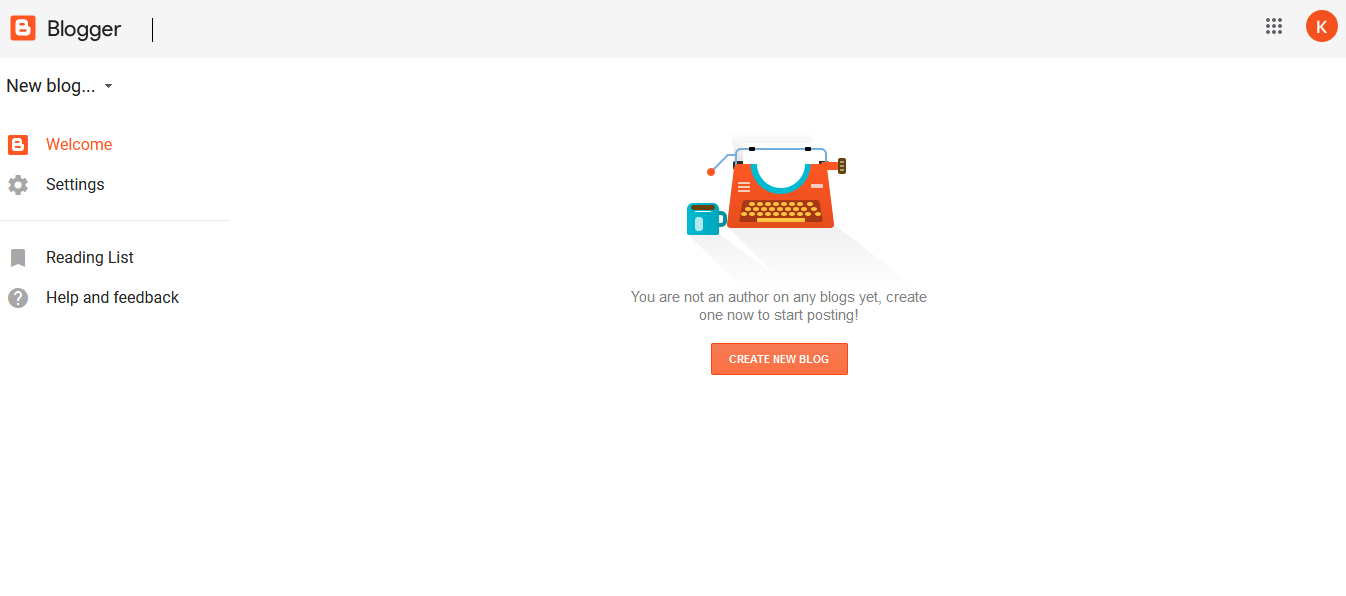 Google Blogger Home page from where you can start writing blog posts.