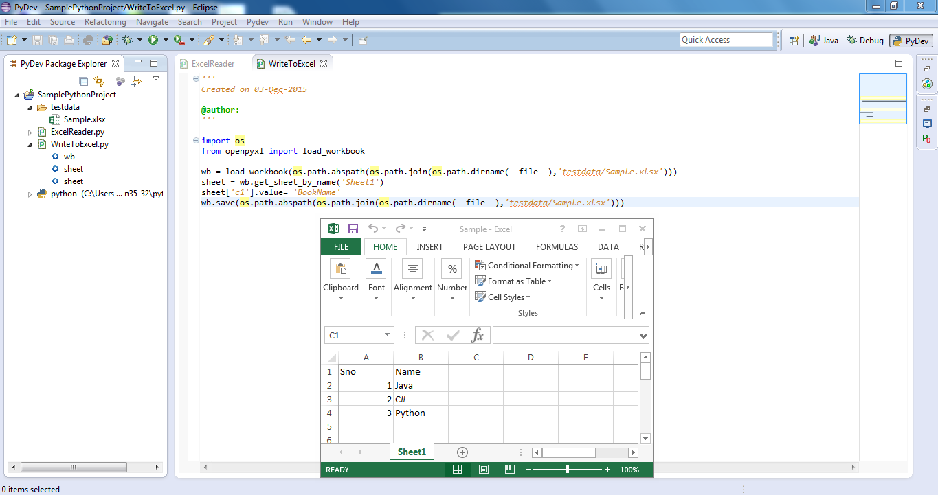 writing a program using python with excel