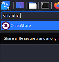Searching onionshare on app menu
